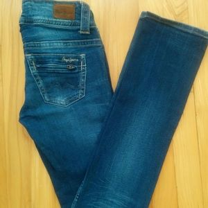 Straight blue jeans